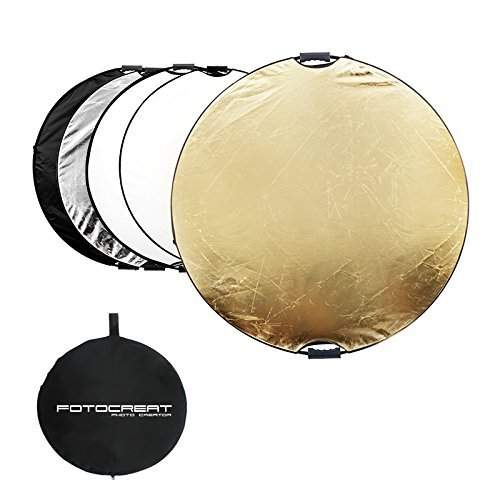 """FOTOCREAT 43""""(110CM) 5 in 1 Round Collapsible Disc Light Reflector with..."""