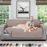 Sofa Shield Original Patent Pending Reversible Large Sofa Protector for Seat Width up to 70 Inch, Furniture Slipcover, 2 Inch Strap, Couch Slip Cover Throw for Pet Dog, Cats, Sofa, Light Taupe