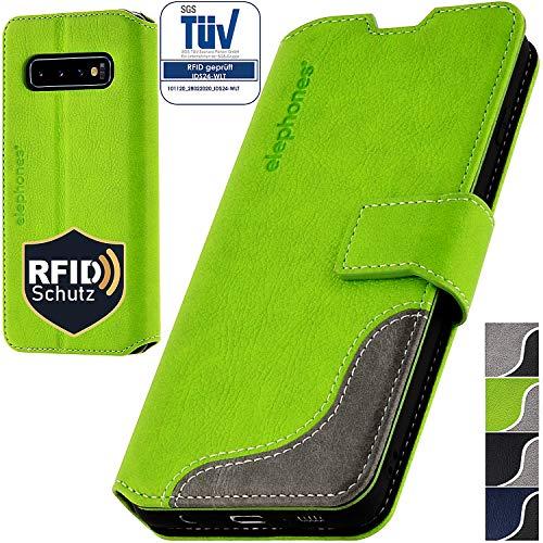 elephones® Handyhülle für Samsung Galaxy S10 Plus Hülle - Kompatibel mit Galaxy S10 Plus Schutzhülle Handy-Tasche Flip Hülle Grün