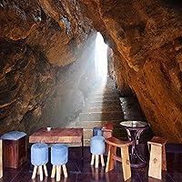 3D写真の壁紙石の壁の洞窟大きな壁画レトロレストランカフェリビングルームの背景壁壁画壁紙の装飾-350x256cm