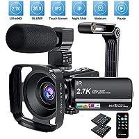 Cámara de vídeo de 2,7 K 36 MP Zoom Digital 16X visión Nocturna infrarroja Pantalla táctil de 3 Pulgadas IPS videocámara de vídeo con micrófono Parasol y Soporte para cámara