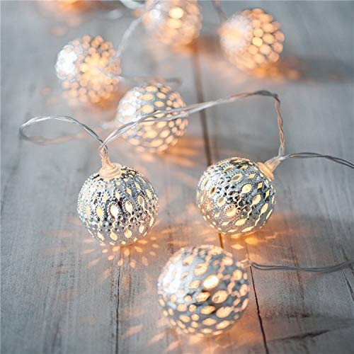Fairy Lights 40 LEDs Balls 6 Metres 8 Modes Silver Metal Ball Warm White Battery Operated Indoor Lighting Christmas for Party Halloween etc.