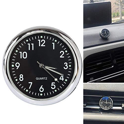 Acecharming Car Clock, High Accuracy Car Dashboard Clock Classic Table Mini Quartz Clock Car Onboard Small Round Luminated Clock (Size: 40 x 40 x 40 mm)