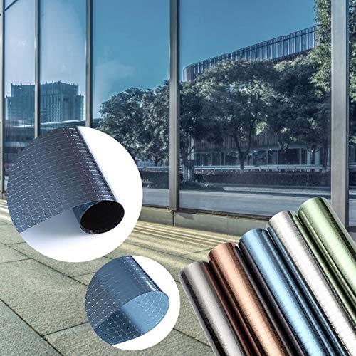 KINLO Sonnenschutzfolie Fensterfolie Anti UV Strahlen selbstklebend Sichtschutzfolie ohne Kleber viele Farben (45x200CM, Kariert-Blau)
