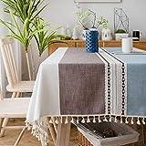 Sunbeauty Manteles Mesa Rectangular Tela Elegantes Mantel Antimanchas Algodon Lino con Borlas 140x220 cm Table Cloth Rectangle Tablecloth para Mesa de Comedor