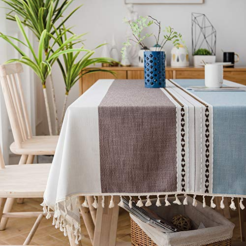 Sunbeauty Mantel Mesa Rectangular Antimanchas Mantel Tela Elegante Algodon Lino con Borlas 140x180 cmTable Cloth Rectangle Tablecloth para Mesa de Comedor