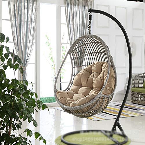 DULPLAY Appeso Uovo Cuscino della Sedia, Addensare Senza Piedistallo Swing Ammortizzazione Seduta Nido Appeso Sedia con Cuscino-Cachi 90x120x15cm(35x47x6inch)