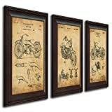 Harley Davidson Patent Prints - Framed Behind Glass 14x17 (Three Bikes - 3pc Set)