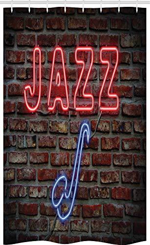 ABAKUHAUS Musik Schmaler Duschvorhang, Alle Jazz-Zeichen-Backsteinmauer, Badezimmer Deko Set aus Stoff mit Haken, 120 x 180 cm, rot blau