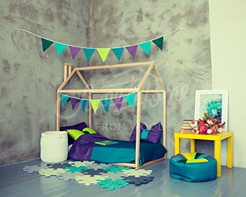 Cama casita con chimenea para colchón de 70 x 140 cm