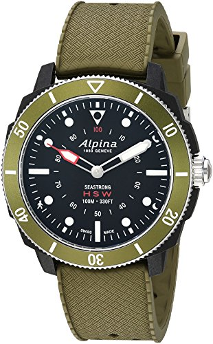 "Alpina Herren-Sportuhr ""Horological Smart"", Quarz, Edelstahl und Gummi, Farbe: Grün (Modell: AL-282LBGR4V6)"