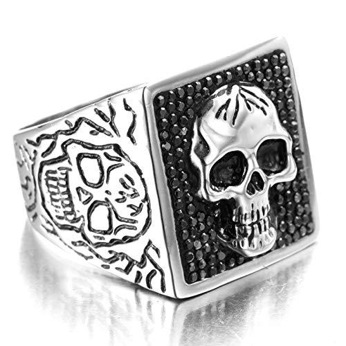 Sping Jewelry Deadshot - Anillo de Tallado de cmic, Plata y Titanio, diseo de Calavera, para Hombres y nios