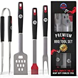 American BBQ Grill Tools - Premium Grilling Set - 4 Piece Utensils: Spatula, Tongs, Fork and Basting Brush - Heavy Duty Stainless Steel Barbecue Accessories for Him - 10 Year Warranty