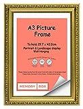 Oro A3 – marco de fotos / Marco para ilustraciones/ fotografías/ Pósters con Vidrio acrílico - Elegante lamentable adornado