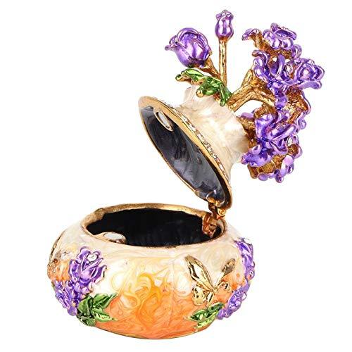 SALUTUYA Joyero Artesanal, decoración Artesanal, joyero esmaltado de aleación de Zinc, para Mujeres para el hogar(Orange)