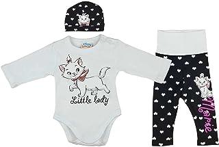 Set i 3 delar med kattmotiv för bebisar och barn upptill 1 år. Body, byxor och mössa med katter på.