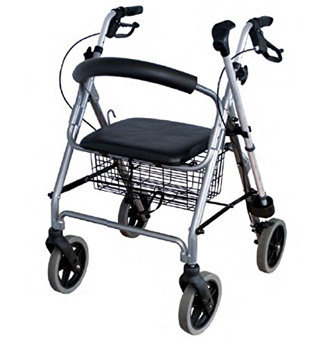 FabaCare Premium Leichtgewicht-Rollator Set N-2200 Lite, Aluminium, höhenverstellbar, faltbar, mit Sitz, Rückenlehne, Korb, Gehwagen, Rollwagen, Alurollator, bis 120 k