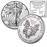2021 1 oz Silver American Eagle Brilliant Uncirculated with our Certificate of Authenticity by CoinFolio $1 Mint State