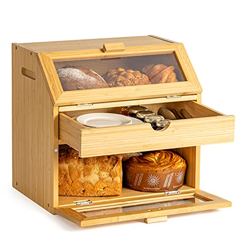 Goodpick Extra Large Bread Box for Kitchen Countertop Corner Bamboo Bread Storage Trible Bread Boxes with Drawer Modern Bread Keeper with Clear Windows, 15 x 14.2 x 10.2 inches