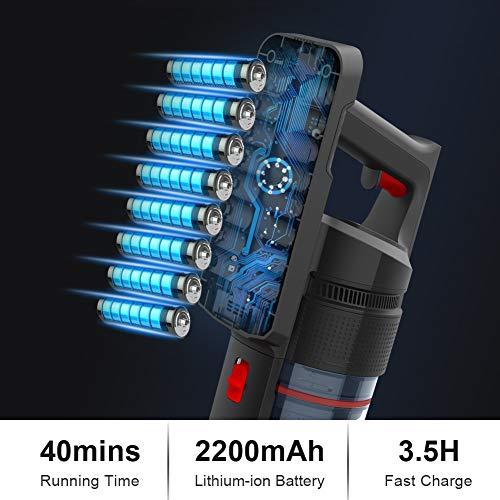 Aspirapolvere Senza Fili Scopa Elettrica Verticale Portatile 3-in-1 Casa Auto 21Kpa Potente 300W Ricaricabile Tre Velocità Blu di VOSFEEL (Viola)