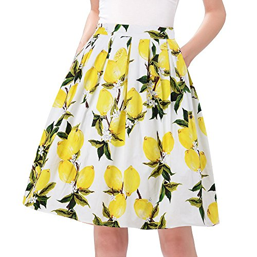 Taydey A Line 50's Vintage Bubble Style Retro Pleated Skirt Size 2XL Yellow Lemon