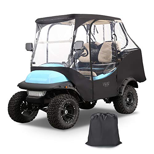 10L0L Golf Cart 4 Passenger Enclosure Cover for Club Car Precedent, 4-Sided Clear Window Rain Cover All Weather Waterproof Windproof Snowproof