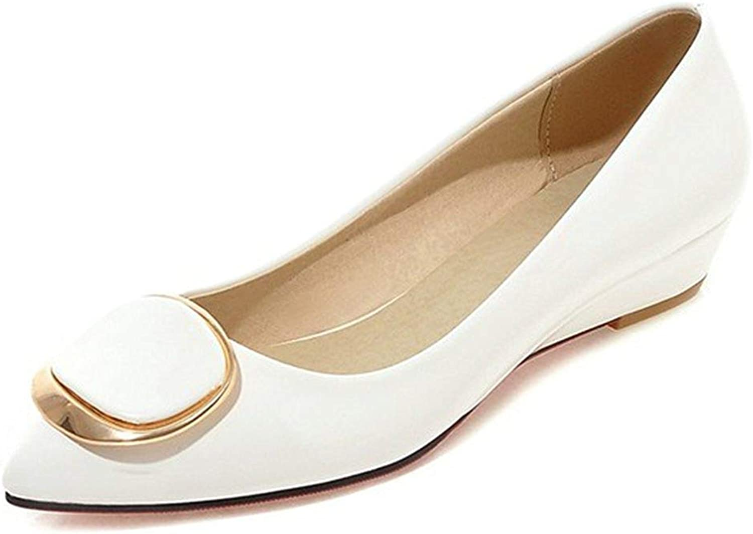 Unm Women's Casual Comfort Buckle Low Cut Burnished Dressy Pointed Toe Low Heel Wedge Pumps shoes