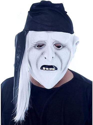 NUOKAI Halloween-Maske Horror Kopfbedeckungen Geist furchterregende M er und Frauen Geist Gesicht Maskerade D n Latex Clown Maske, Weißs Gesicht