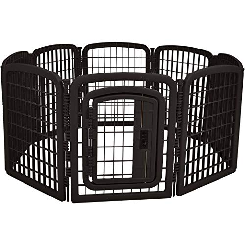 Amazon Basics 8-Panel Plastic Pet Pen Fence Enclosure With Gate - 59 x 58 x 28 Inches, Black
