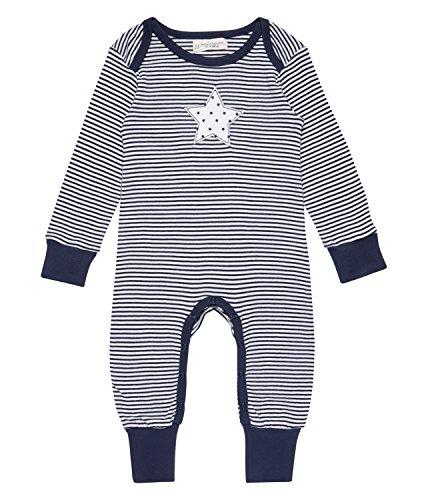 Sense Organics Wayan Spieler, Barboteuse Bébé Garçon, Multicolore (Navy Stripes + Star Appliqué 291012), 56 cm (Taille du Fabricant: 0M)