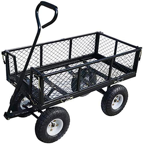 Utility Heavy Duty Garden Cart, Wagon Carrier Wheel Barrow Air Tires with Removable Side Walls Maximum Load 1100 Pound Capacity,A
