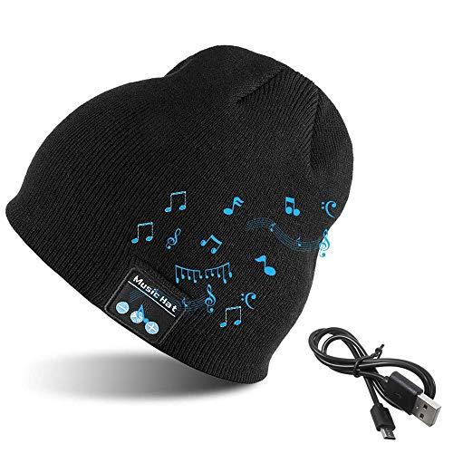 EasyULT Berretto Musicale Bluetooth Cappello, Lavorato a Maglia Cappello con Altoparlanti Stereo e Microfono, Regali per Uomo e Donna, per Corsa Sport all'Aria Aperta-Nero