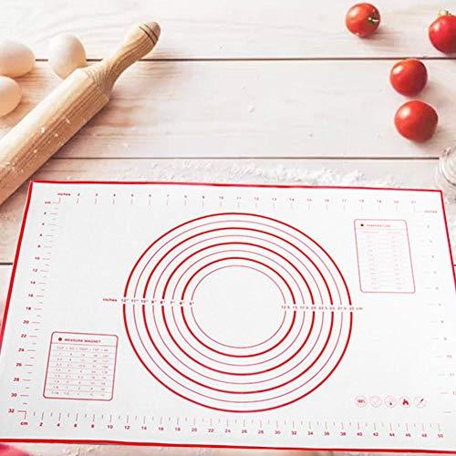 Sunnyushine Backmatte Baking Mat Nonstick con mediciones Fondant Teig pasteles de silicona BPA libre Reutilizable para fondant pasteles Pizza Matte 60x40 cm