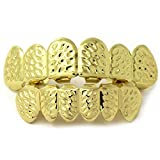 Gold Grillz Teeth Set Best Gift for Son-New Custom Fit 14k Plated Gold with Diamonds Cut Grillz - Excellent Cut for All Types of Teeth – Top and Bottom Grill Set - Hip Hop Bling Grillz