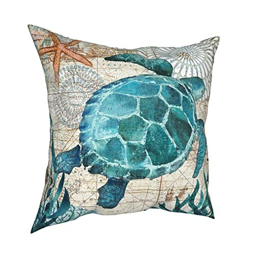 ~ Throw Pillow Covers 12'X12' Sea Turtle Starfish Retro Map Square Decorative Pillow Cases Cushion for Bed Sofa Chairs Home Decor