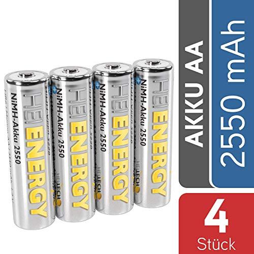 HEITECH AA Akku Mignon 2550 mAh 1,2V NiMH TÜV geprüft 4 Stück - Wiederaufladbare Batterien mit geringer Selbstentladung - Akkus für Geräte mit hohem Stromverbrauch