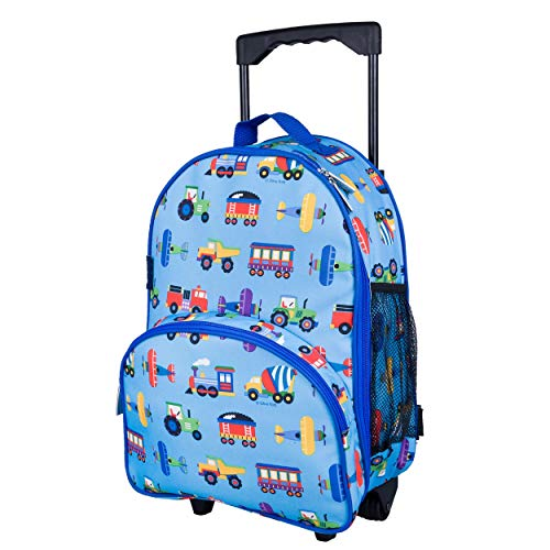 Wildkin Kids Rolling Luggage for Boys and Girls, Carry on Luggage Size is Perfect for School and Overnight Travel, Measures 16 x 12 x 6 Inches, BPA-free, Olive Kids (Trains, Planes, and Trucks)