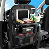 AUCD Back Seat Car Organizer with Tablet Holder and 4 USB Charging Port, Car Organizer for Kids Baby Toddlers Toy Bottles Storage Foldable Dining Table Family Road Trip Travel Accessories (Black)