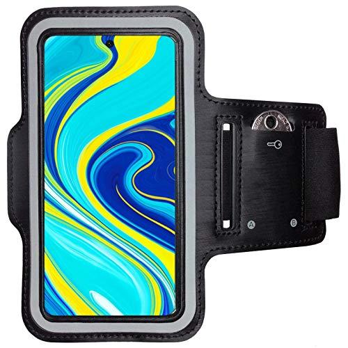 CoverKingz - Fascia da braccio per Xiaomi Redmi Note 9S, con scomparto per chiavi, braccialetto da corsa, fitness, colore: Nero