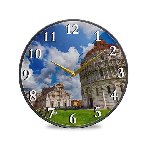 Rulyy Wanduhr, Acryl, italienischer Pisa, schiefer Turm, Ständer, geräuschlos, tickt nicht, rund, hängende Uhr, antiker Stil, für Wohnzimmer, Küche, Schlafzimmer, multi, 11.9x11.9in