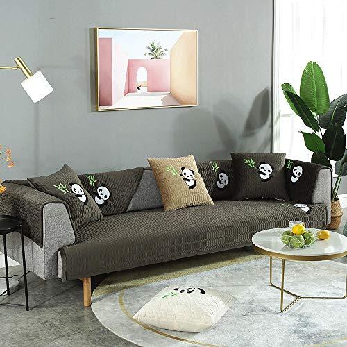 YUTJK Sofá Fundas Antideslizante,Toalla de sofá Cubierta,Protector de Muebles,Lanzar Juegos de Funda de cojín Estar,Cojín de sofá de Felpa con diseño de Panda,Vendido por Pieza,Marron Oscuro