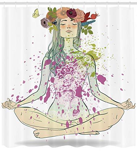 Cortina de Ducha de Yoga Chica Guirnalda Floral Lotus Print para baño
