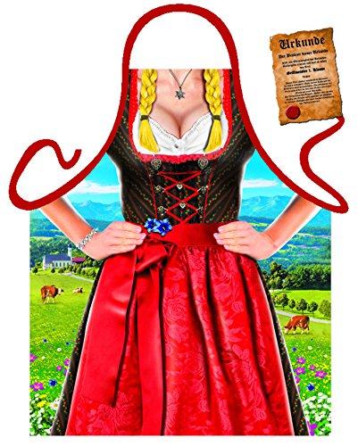 Damen Grill-Schürze Alpen-Dirndl Tracht Fun Koch-Schürze Küchen-Schürze geil Bedruckt Geschenk-Set mit Grillmeister-Urkunde