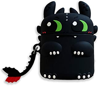 ICI-Rencontrer 3D Cute Big Eyes Short Tail Dragon Design Airpods Case Girls Women Fun Dinosaur AirPods Accessories Wireless Charging Earphone Soft Silicone Shockproof With Decoration Black