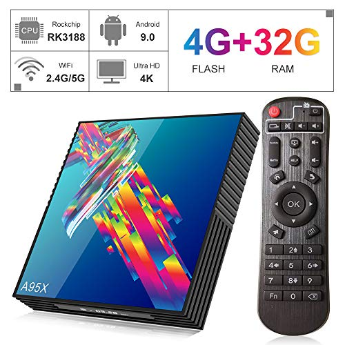 Android TV Box【4GB RAM 32GB ROM】 Android 9.0 RK3318 Quad-Core Cortex-A53 CPU Support 2.4GHz/5GHz Dual WiFi /4K Ultra HD /H.265 /USB3.0 /BT4.2/ 3D