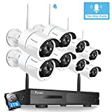 【Two-Way Audio】 Security Camera System Wireless, Fyuui 1080P 8 Channel Wireless Surveillance NVR with 2TB Hard Drive, 8pcs 2.0 Megapixel (1920×1080P) WiFi IP Bullet Camera Outdoor Indoor,Remote Access