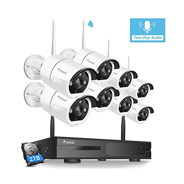 【Two-Way Audio】 Security Camera System Wireless, Fyuui 1080P 8 Channel Wireless...