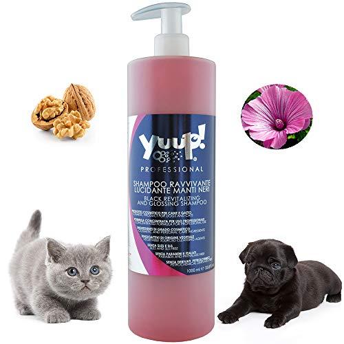 Yuup! Champú Profesional para Perros Brillantes para Pelo Oscuro y Negro, Volumen 1 litro.