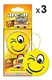 AREON Smile Deodorante Auto Vaniglia Dolce da Appendere Specchietto Retrovisore Divertenti Set 3