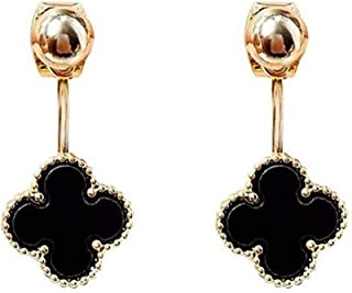 Hypoallergenic Gold Plated 18K Classic Black Onyx Agate Four Leaf Clover Drop Dangle Tassel Earrings